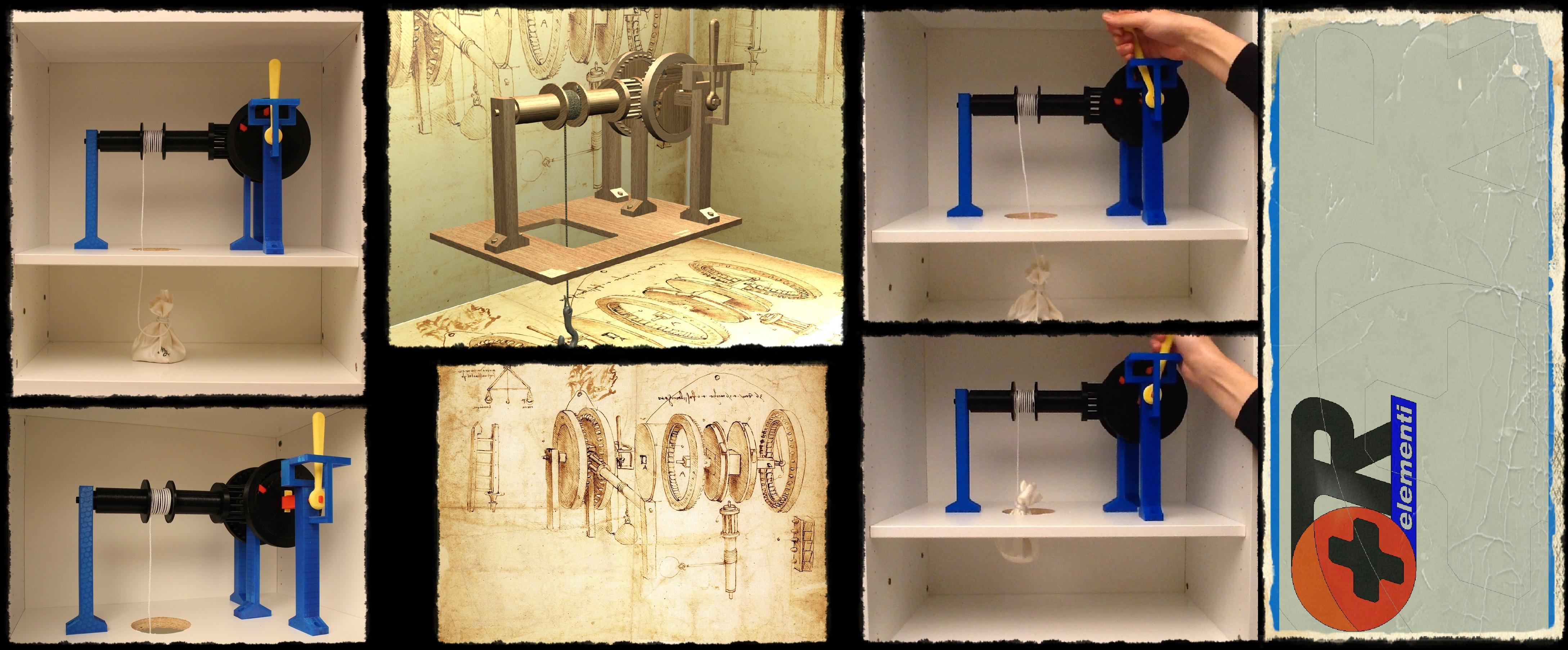 Codex Atlanticus 30V - Leonardo Da Vinci's machine, 3D printable-set educational