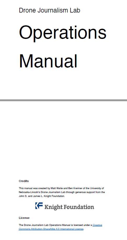 Drone Journalism Lab Operations Manual: la versione italiana