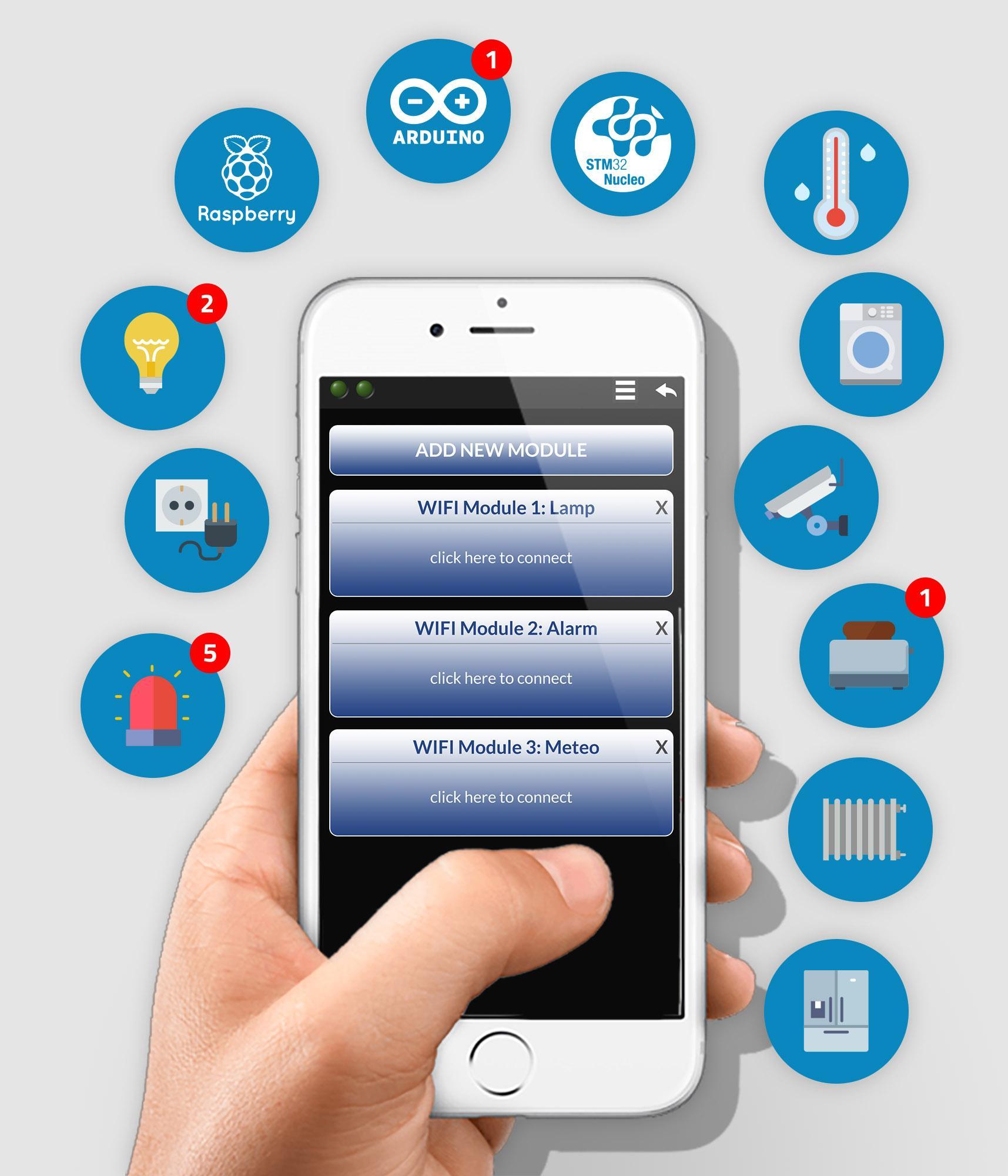 Sistema per controllare da remoto attraverso App qualunque sistema a microcontrollore