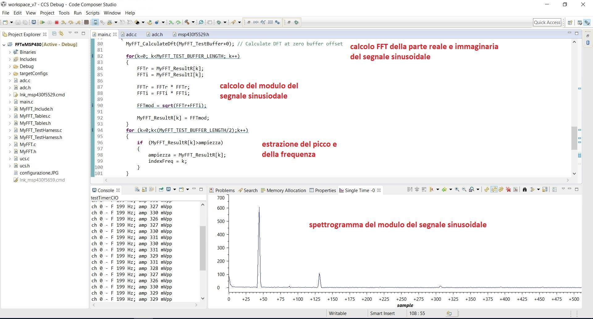 Analisi spettrale attraverso FFT con MSP430
